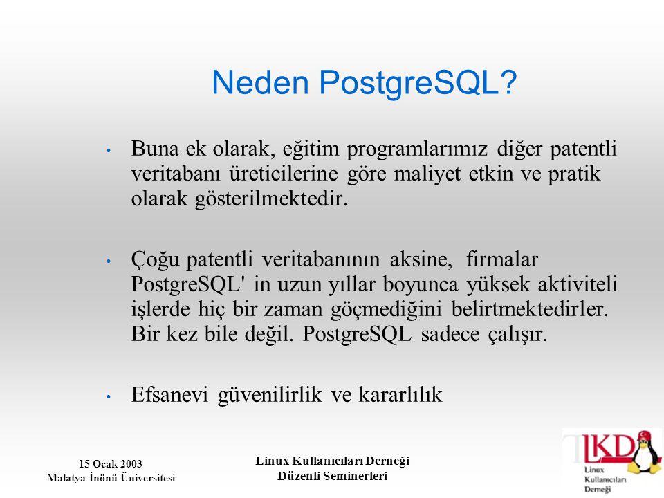 15 Ocak 2003 Malatya İnönü Üniversitesi Linux Kullanıcıları Derneği Düzenli Seminerleri Neden PostgreSQL? Buna ek olarak, eğitim programlarımız diğer