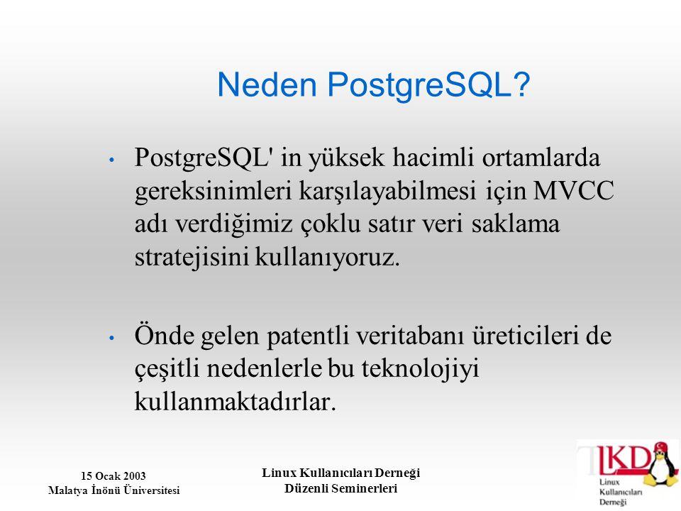 15 Ocak 2003 Malatya İnönü Üniversitesi Linux Kullanıcıları Derneği Düzenli Seminerleri Neden PostgreSQL? PostgreSQL' in yüksek hacimli ortamlarda ger