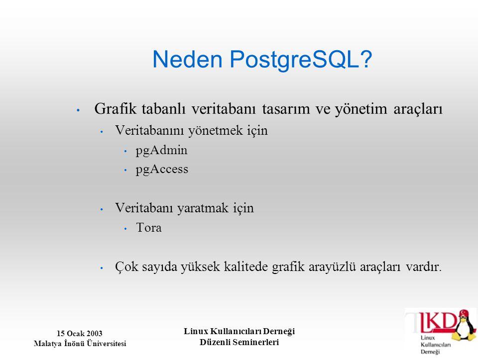 15 Ocak 2003 Malatya İnönü Üniversitesi Linux Kullanıcıları Derneği Düzenli Seminerleri Neden PostgreSQL? Grafik tabanlı veritabanı tasarım ve yönetim