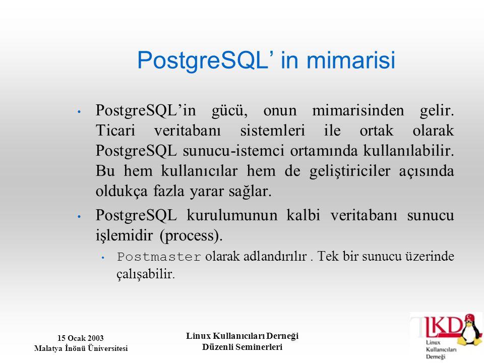 15 Ocak 2003 Malatya İnönü Üniversitesi Linux Kullanıcıları Derneği Düzenli Seminerleri PostgreSQL' in mimarisi PostgreSQL'in gücü, onun mimarisinden