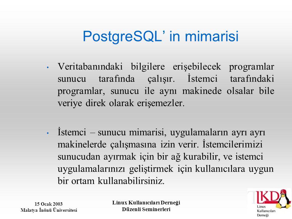15 Ocak 2003 Malatya İnönü Üniversitesi Linux Kullanıcıları Derneği Düzenli Seminerleri PostgreSQL' in mimarisi Veritabanındaki bilgilere erişebilecek