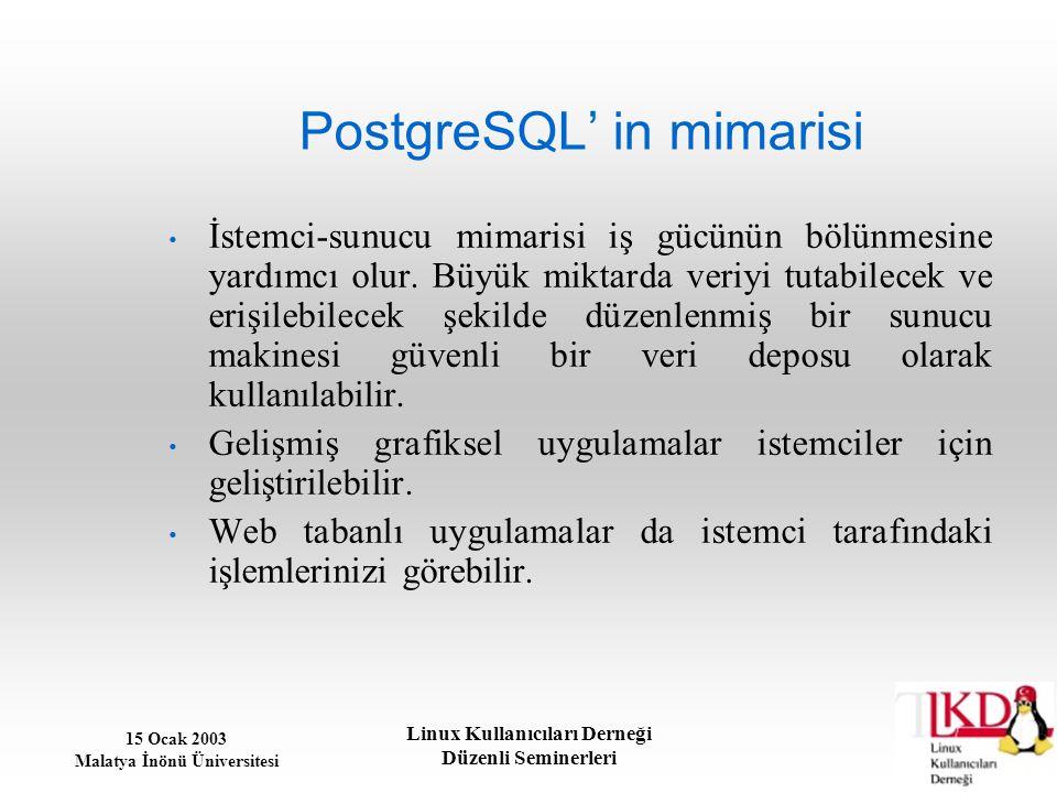 15 Ocak 2003 Malatya İnönü Üniversitesi Linux Kullanıcıları Derneği Düzenli Seminerleri PostgreSQL' in mimarisi İstemci-sunucu mimarisi iş gücünün böl