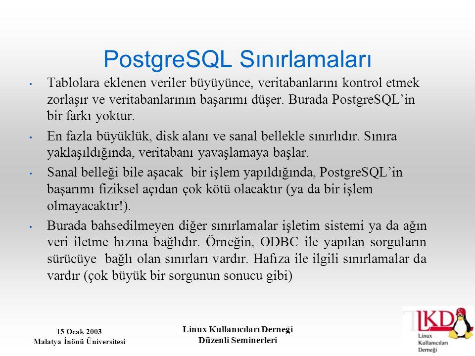 15 Ocak 2003 Malatya İnönü Üniversitesi Linux Kullanıcıları Derneği Düzenli Seminerleri PostgreSQL Sınırlamaları Tablolara eklenen veriler büyüyünce,