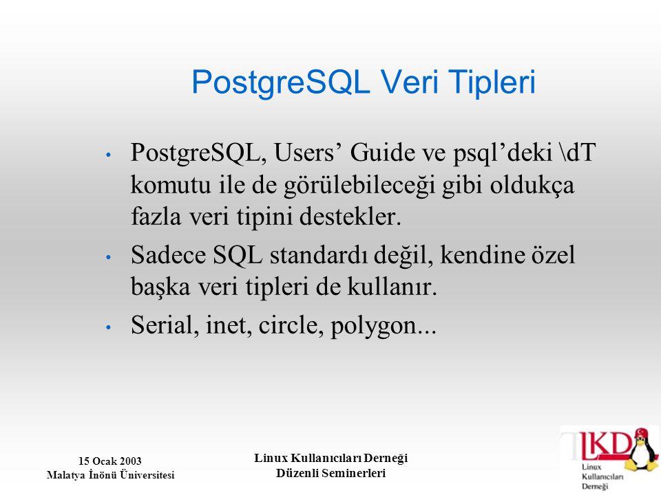 15 Ocak 2003 Malatya İnönü Üniversitesi Linux Kullanıcıları Derneği Düzenli Seminerleri PostgreSQL Veri Tipleri PostgreSQL, Users' Guide ve psql'deki