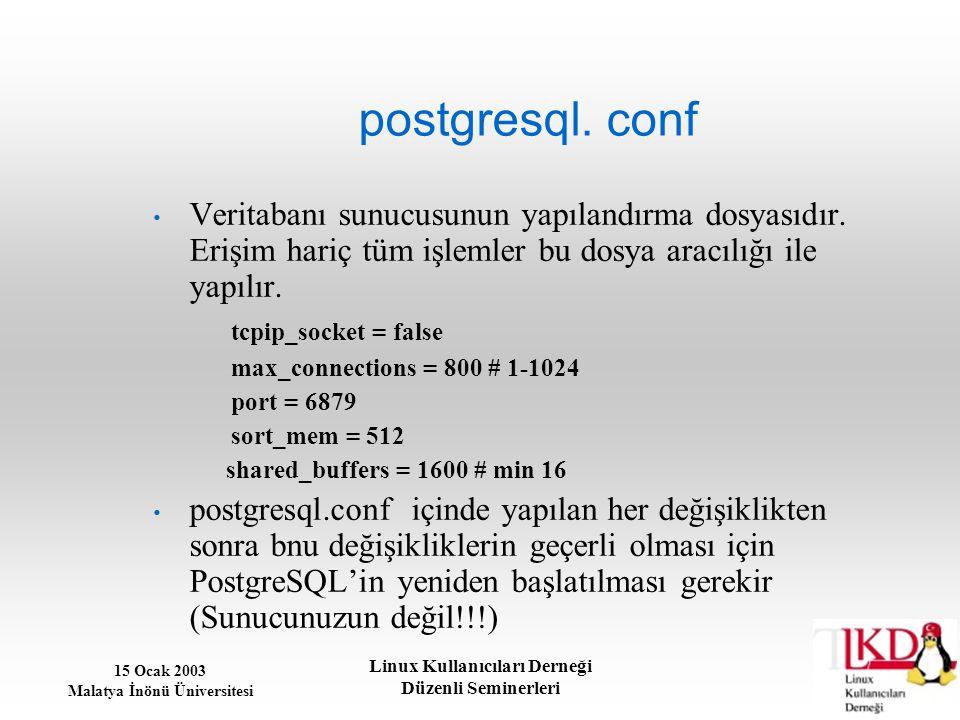 15 Ocak 2003 Malatya İnönü Üniversitesi Linux Kullanıcıları Derneği Düzenli Seminerleri postgresql. conf Veritabanı sunucusunun yapılandırma dosyasıdı