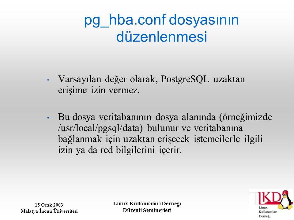 15 Ocak 2003 Malatya İnönü Üniversitesi Linux Kullanıcıları Derneği Düzenli Seminerleri pg_hba.conf dosyasının düzenlenmesi Varsayılan değer olarak, P