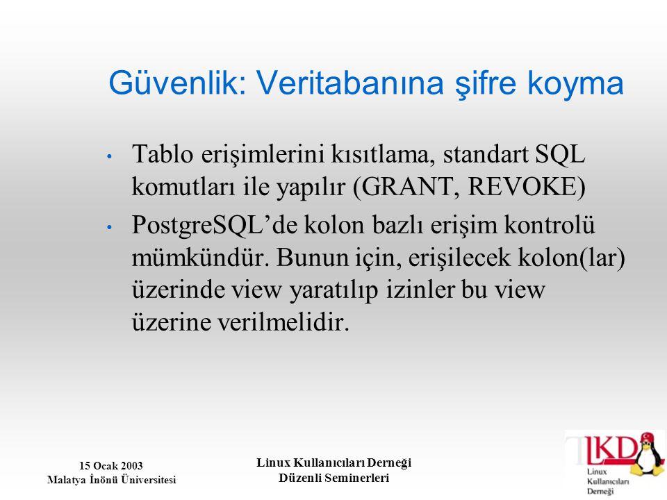 15 Ocak 2003 Malatya İnönü Üniversitesi Linux Kullanıcıları Derneği Düzenli Seminerleri Güvenlik: Veritabanına şifre koyma Tablo erişimlerini kısıtlam