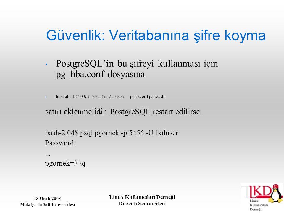 15 Ocak 2003 Malatya İnönü Üniversitesi Linux Kullanıcıları Derneği Düzenli Seminerleri Güvenlik: Veritabanına şifre koyma PostgreSQL'in bu şifreyi ku