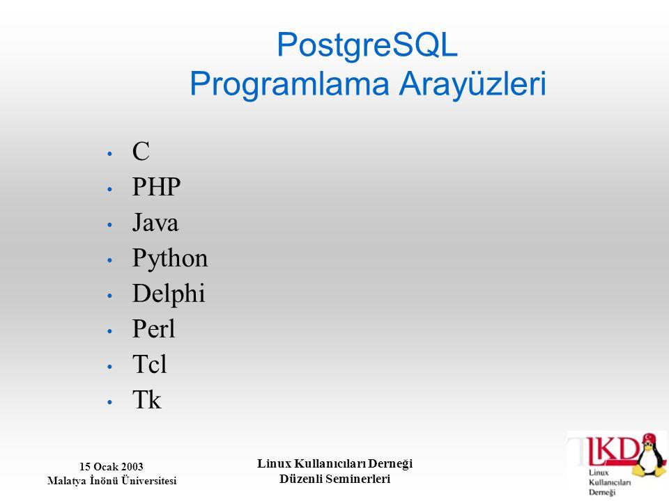 15 Ocak 2003 Malatya İnönü Üniversitesi Linux Kullanıcıları Derneği Düzenli Seminerleri PostgreSQL Programlama Arayüzleri C PHP Java Python Delphi Per