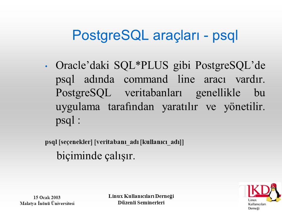 15 Ocak 2003 Malatya İnönü Üniversitesi Linux Kullanıcıları Derneği Düzenli Seminerleri PostgreSQL araçları - psql Oracle'daki SQL*PLUS gibi PostgreSQ