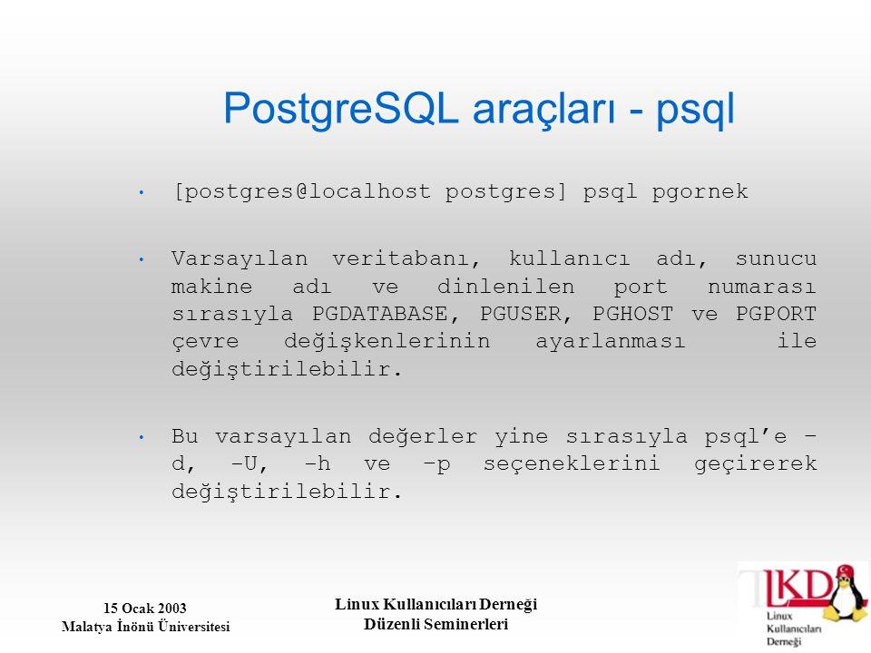 15 Ocak 2003 Malatya İnönü Üniversitesi Linux Kullanıcıları Derneği Düzenli Seminerleri PostgreSQL araçları - psql [postgres@localhost postgres] psql