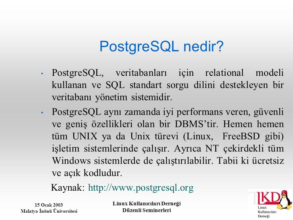 15 Ocak 2003 Malatya İnönü Üniversitesi Linux Kullanıcıları Derneği Düzenli Seminerleri Güvenlik: Veritabanına şifre koyma PostgreSQL'in bu şifreyi kullanması için pg_hba.conf dosyasına host all 127.0.0.1 255.255.255.255 password passwdf satırı eklenmelidir.