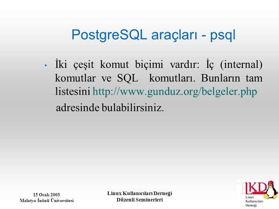 15 Ocak 2003 Malatya İnönü Üniversitesi Linux Kullanıcıları Derneği Düzenli Seminerleri PostgreSQL araçları - psql İki çeşit komut biçimi vardır: İç (