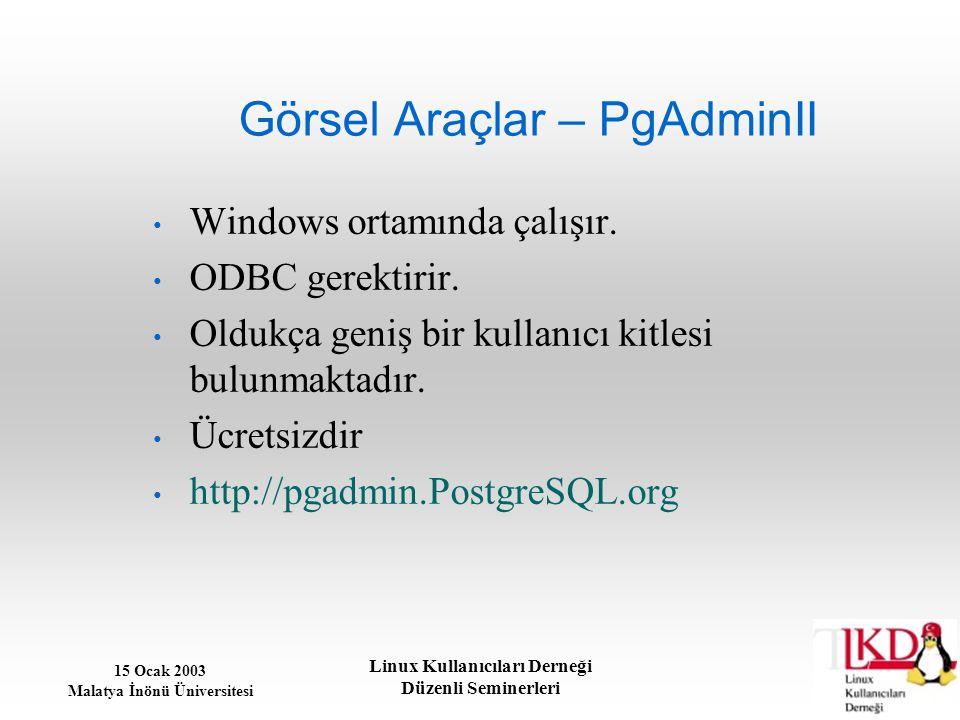 15 Ocak 2003 Malatya İnönü Üniversitesi Linux Kullanıcıları Derneği Düzenli Seminerleri Görsel Araçlar – PgAdminII Windows ortamında çalışır. ODBC ger