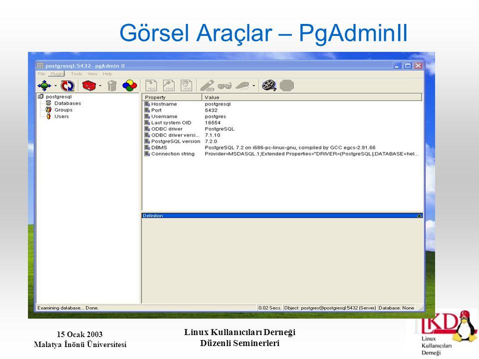 15 Ocak 2003 Malatya İnönü Üniversitesi Linux Kullanıcıları Derneği Düzenli Seminerleri Görsel Araçlar – PgAdminII