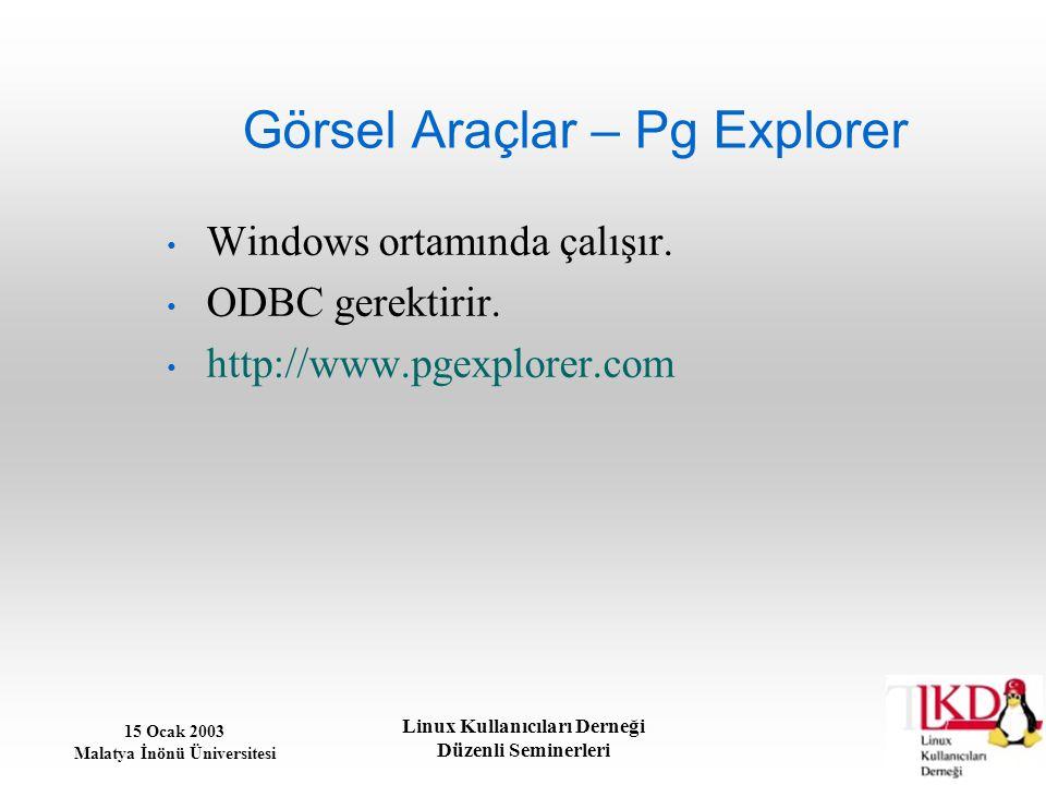 15 Ocak 2003 Malatya İnönü Üniversitesi Linux Kullanıcıları Derneği Düzenli Seminerleri Görsel Araçlar – Pg Explorer Windows ortamında çalışır. ODBC g