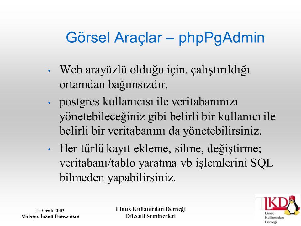 15 Ocak 2003 Malatya İnönü Üniversitesi Linux Kullanıcıları Derneği Düzenli Seminerleri Görsel Araçlar – phpPgAdmin Web arayüzlü olduğu için, çalıştır