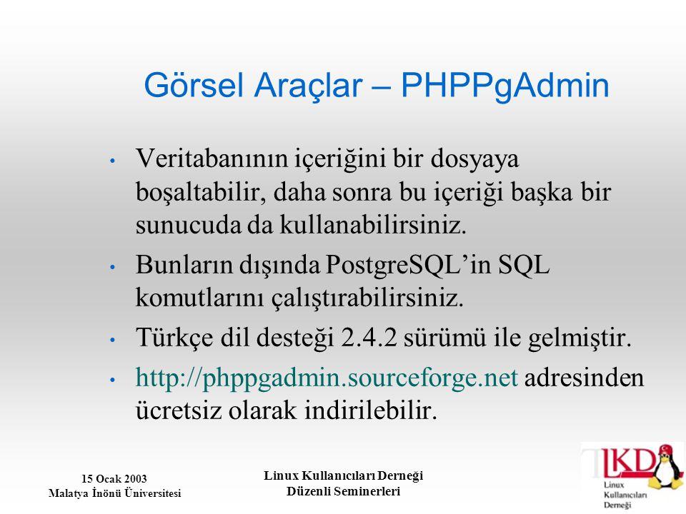 15 Ocak 2003 Malatya İnönü Üniversitesi Linux Kullanıcıları Derneği Düzenli Seminerleri Görsel Araçlar – PHPPgAdmin Veritabanının içeriğini bir dosyay