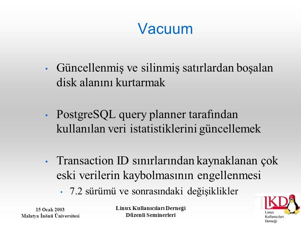 15 Ocak 2003 Malatya İnönü Üniversitesi Linux Kullanıcıları Derneği Düzenli Seminerleri Vacuum Güncellenmiş ve silinmiş satırlardan boşalan disk alanı