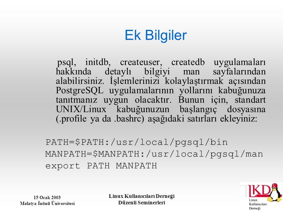 15 Ocak 2003 Malatya İnönü Üniversitesi Linux Kullanıcıları Derneği Düzenli Seminerleri Ek Bilgiler psql, initdb, createuser, createdb uygulamaları ha