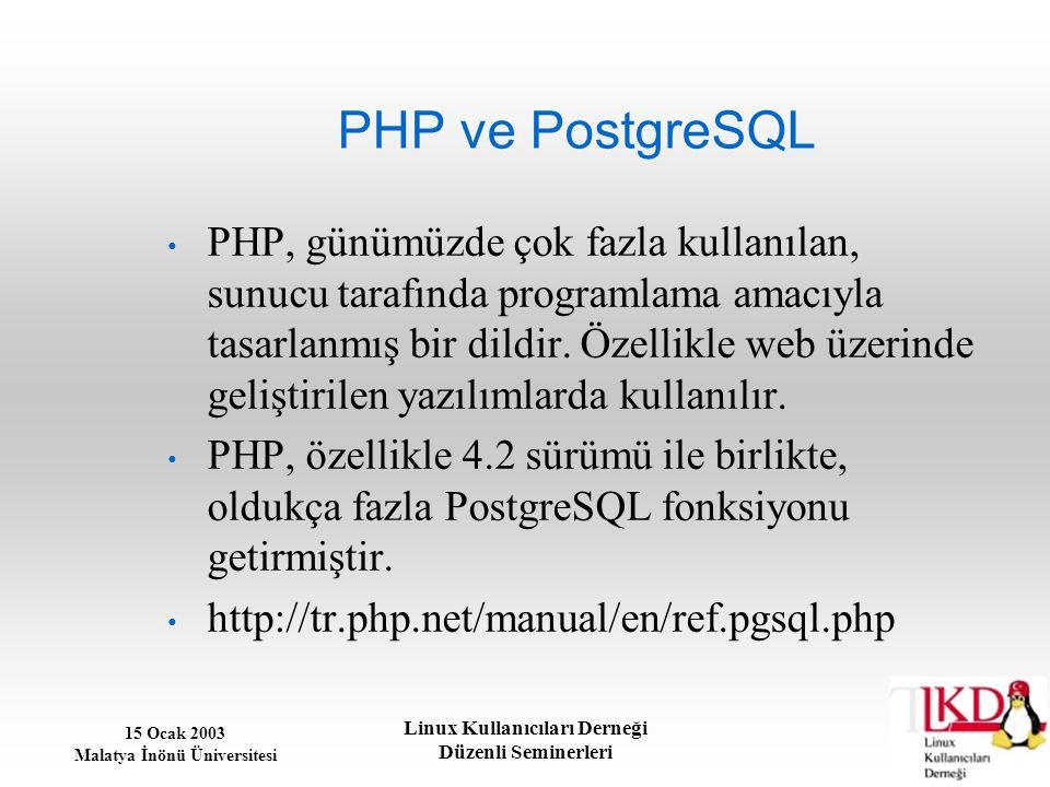 15 Ocak 2003 Malatya İnönü Üniversitesi Linux Kullanıcıları Derneği Düzenli Seminerleri PHP ve PostgreSQL PHP, günümüzde çok fazla kullanılan, sunucu