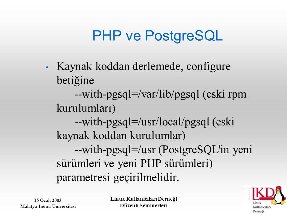 15 Ocak 2003 Malatya İnönü Üniversitesi Linux Kullanıcıları Derneği Düzenli Seminerleri PHP ve PostgreSQL Kaynak koddan derlemede, configure betiğine