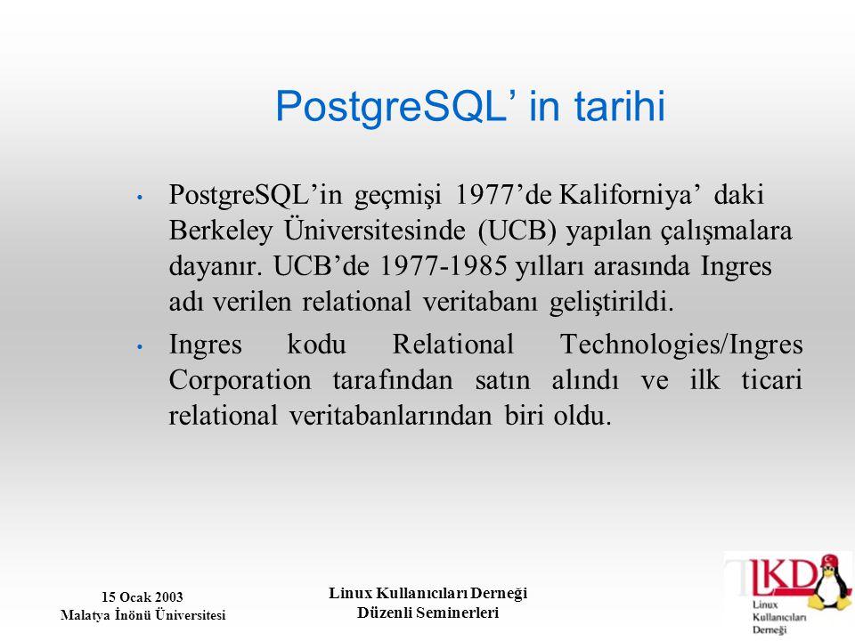 15 Ocak 2003 Malatya İnönü Üniversitesi Linux Kullanıcıları Derneği Düzenli Seminerleri Teknik açıdan PostgreSQL Bazı teknik özellikler açısından, PostgreSQL şunları sunar: %100 ACID uyumlu ANSI SQL uyumlu Referential Integrity Replikasyon (ticari ve ticari olmayan çözümler) ana veritabanının (master) çok sayıda başka veritabanlarına (slave) çoklanmasını sağlar.