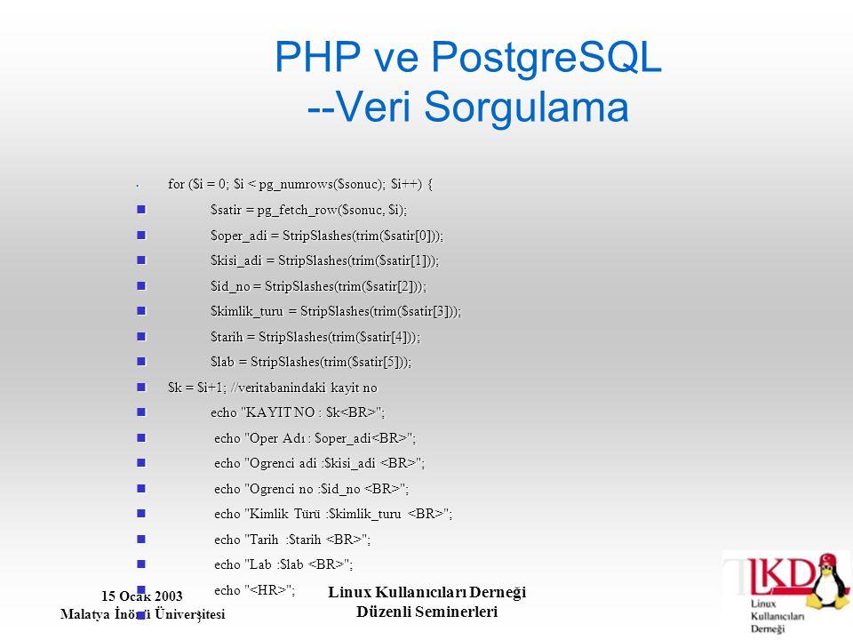15 Ocak 2003 Malatya İnönü Üniversitesi Linux Kullanıcıları Derneği Düzenli Seminerleri PHP ve PostgreSQL --Veri Sorgulama for ($i = 0; $i < pg_numrow