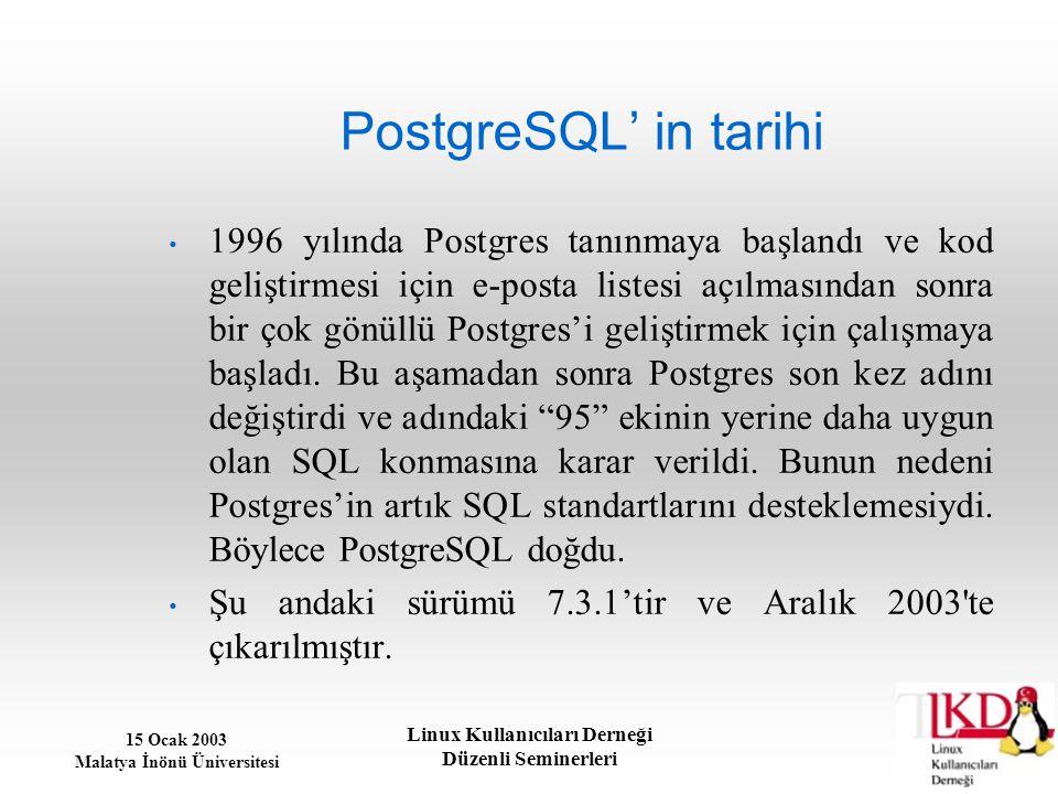 15 Ocak 2003 Malatya İnönü Üniversitesi Linux Kullanıcıları Derneği Düzenli Seminerleri Teknik açıdan PostgreSQL Stored Procedures Kod geliştiriciler işin açık API Doğal SSL Desteği UNION, UNION ALL ve EXCEPT sorgularına destek Doğal Kerberos Yetkilendirmesi Fonksiyonel ve Partial Indexler Procedural Diller