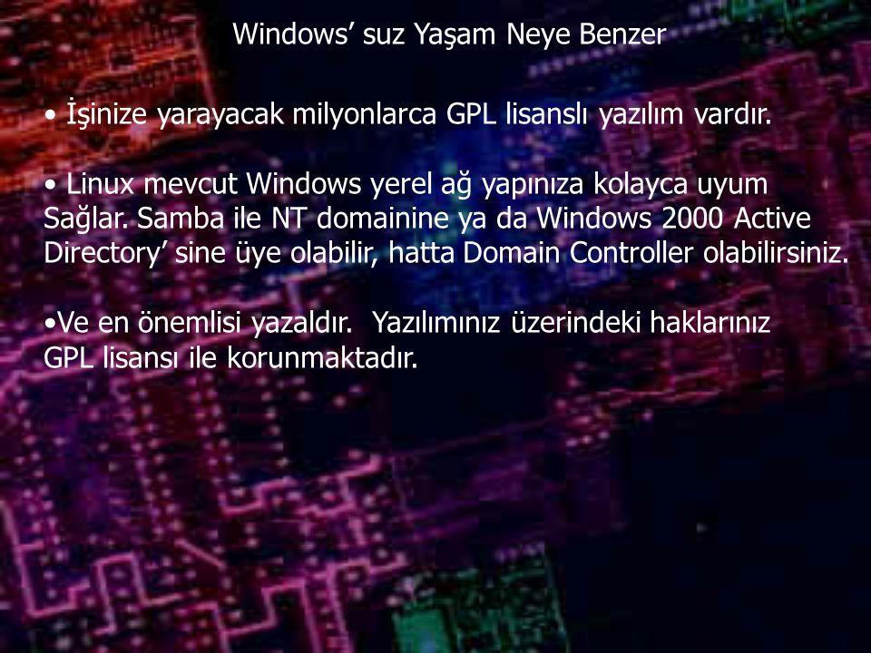 Windows' suz Yaşam Neye Benzer İşinize yarayacak milyonlarca GPL lisanslı yazılım vardır. Linux mevcut Windows yerel ağ yapınıza kolayca uyum Sağlar.