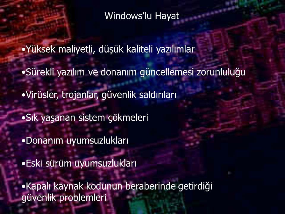 Windows'lu Hayat Yüksek maliyetli, düşük kaliteli yazılımlar Sürekli yazılım ve donanım güncellemesi zorunluluğu Virüsler, trojanlar, güvenlik saldırıları Sık yaşanan sistem çökmeleri Donanım uyumsuzlukları Eski sürüm uyumsuzlukları Kapalı kaynak kodunun beraberinde getirdiği güvenlik problemleri