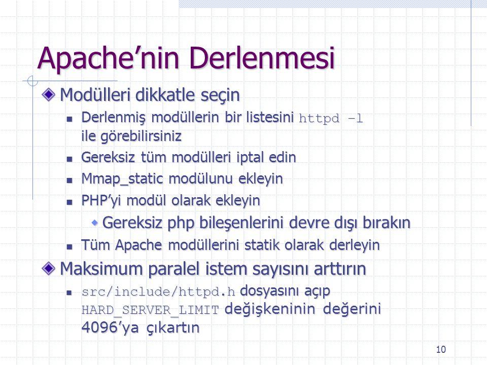10 Apache'nin Derlenmesi Modülleri dikkatle seçin Derlenmiş modüllerin bir listesini httpd –l ile görebilirsiniz Derlenmiş modüllerin bir listesini ht