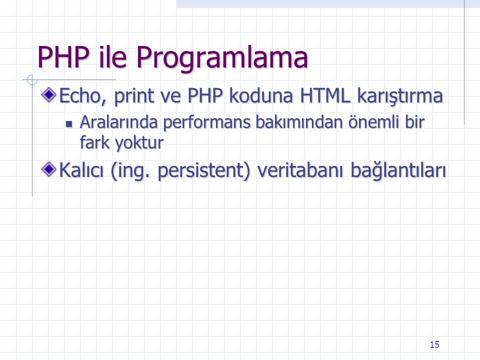 15 PHP ile Programlama Echo, print ve PHP koduna HTML karıştırma Aralarında performans bakımından önemli bir fark yoktur Aralarında performans bakımından önemli bir fark yoktur Kalıcı (ing.