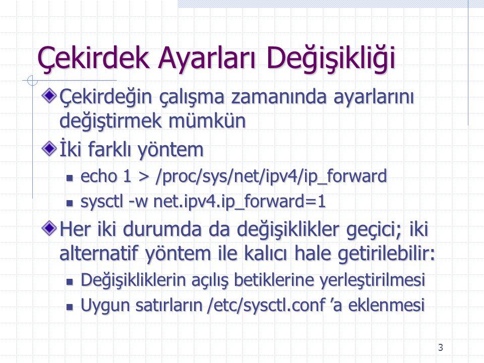 3 Çekirdek Ayarları Değişikliği Çekirdeğin çalışma zamanında ayarlarını değiştirmek mümkün İki farklı yöntem echo 1 > /proc/sys/net/ipv4/ip_forward echo 1 > /proc/sys/net/ipv4/ip_forward sysctl -w net.ipv4.ip_forward=1 sysctl -w net.ipv4.ip_forward=1 Her iki durumda da değişiklikler geçici; iki alternatif yöntem ile kalıcı hale getirilebilir: Değişikliklerin açılış betiklerine yerleştirilmesi Değişikliklerin açılış betiklerine yerleştirilmesi Uygun satırların /etc/sysctl.conf 'a eklenmesi Uygun satırların /etc/sysctl.conf 'a eklenmesi