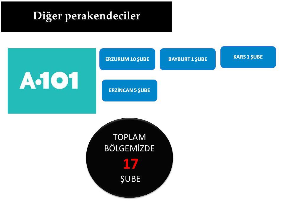 ERZURUM 10 ŞUBEBAYBURT 1 ŞUBE ERZİNCAN 5 ŞUBE KARS 1 ŞUBE TOPLAM BÖLGEMİZDE 17 ŞUBE TOPLAM BÖLGEMİZDE 17 ŞUBE Diğer perakendeciler