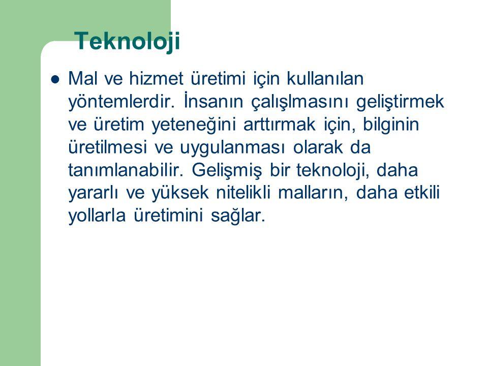 Teknoloji Mal ve hizmet üretimi için kullanılan yöntemlerdir.
