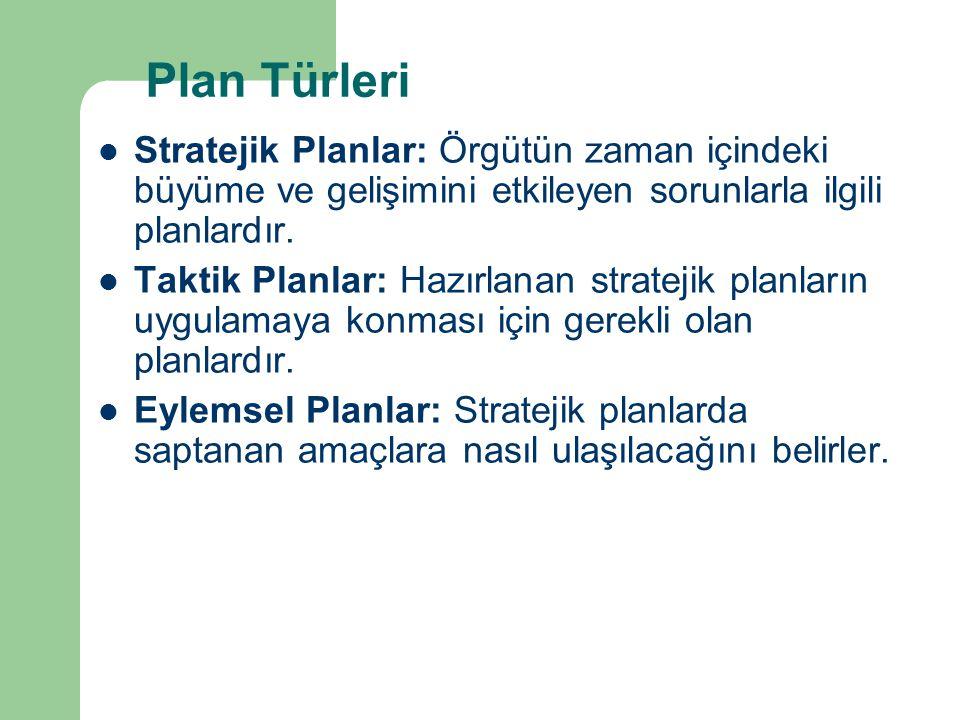 Plan Türleri Stratejik Planlar: Örgütün zaman içindeki büyüme ve gelişimini etkileyen sorunlarla ilgili planlardır. Taktik Planlar: Hazırlanan stratej