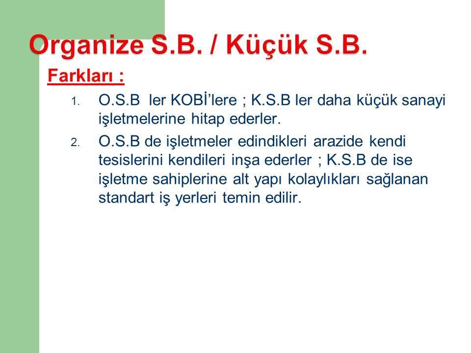 Farkları : 1. O.S.B ler KOBİ'lere ; K.S.B ler daha küçük sanayi işletmelerine hitap ederler. 2. O.S.B de işletmeler edindikleri arazide kendi tesisler