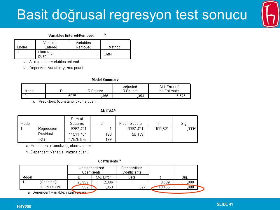 SLIDE 41 BBY208 Basit doğrusal regresyon test sonucu