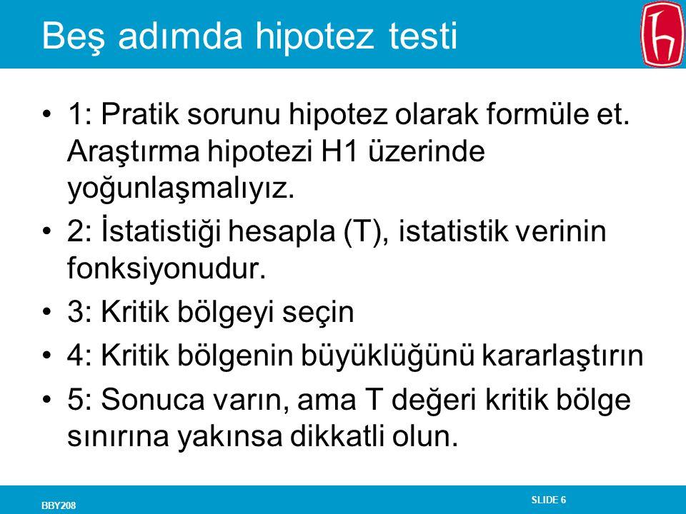 SLIDE 6 BBY208 Beş adımda hipotez testi 1: Pratik sorunu hipotez olarak formüle et. Araştırma hipotezi H1 üzerinde yoğunlaşmalıyız. 2: İstatistiği hes