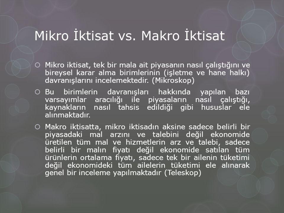 Mikro İktisat vs. Makro İktisat  Mikro iktisat, tek bir mala ait piyasanın nasıl çalıştığını ve bireysel karar alma birimlerinin (işletme ve hane hal