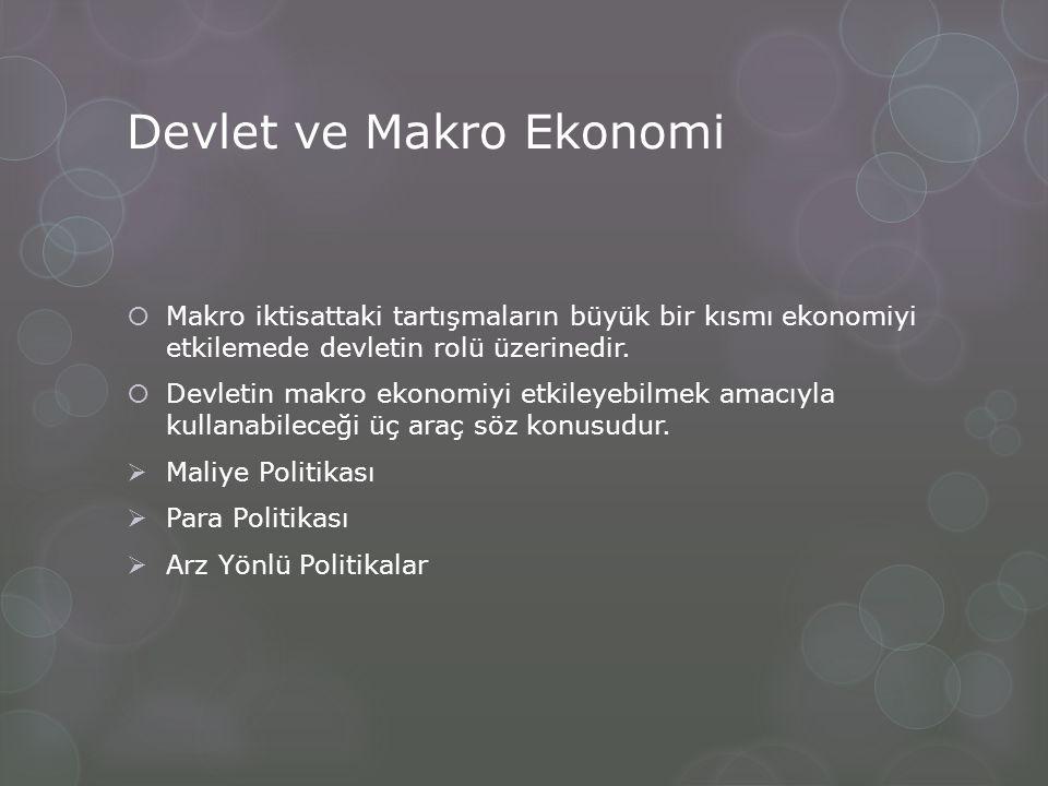 Devlet ve Makro Ekonomi  Makro iktisattaki tartışmaların büyük bir kısmı ekonomiyi etkilemede devletin rolü üzerinedir.  Devletin makro ekonomiyi et