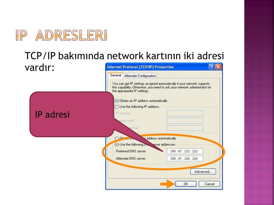 TCP/IP bakımında network kartının iki adresi vardır: IP adresi