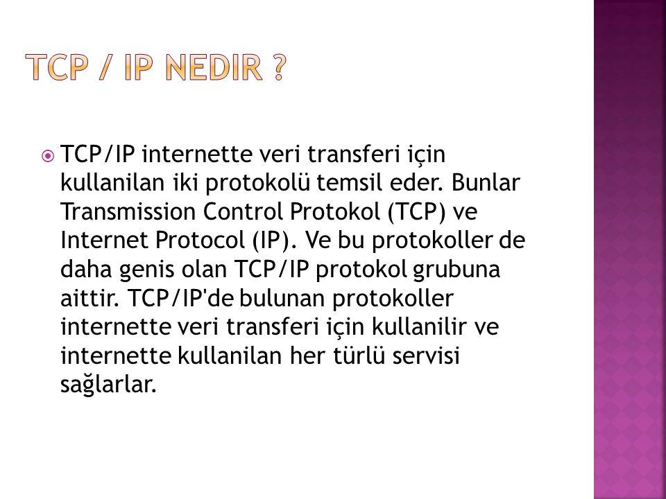  TCP/IP internette veri transferi için kullanilan iki protokolü temsil eder.
