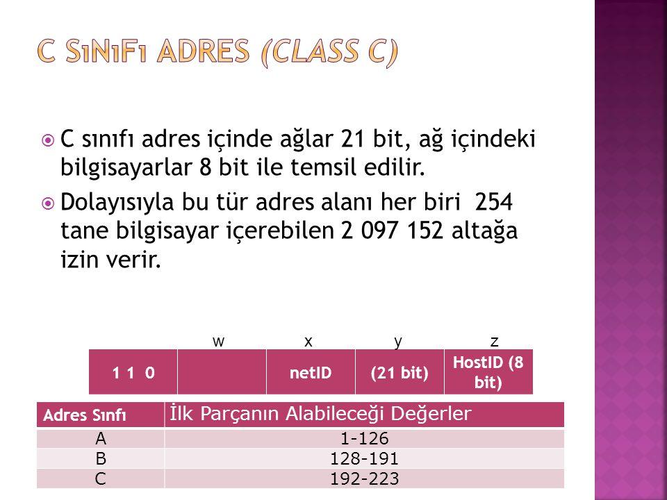  C sınıfı adres içinde ağlar 21 bit, ağ içindeki bilgisayarlar 8 bit ile temsil edilir.