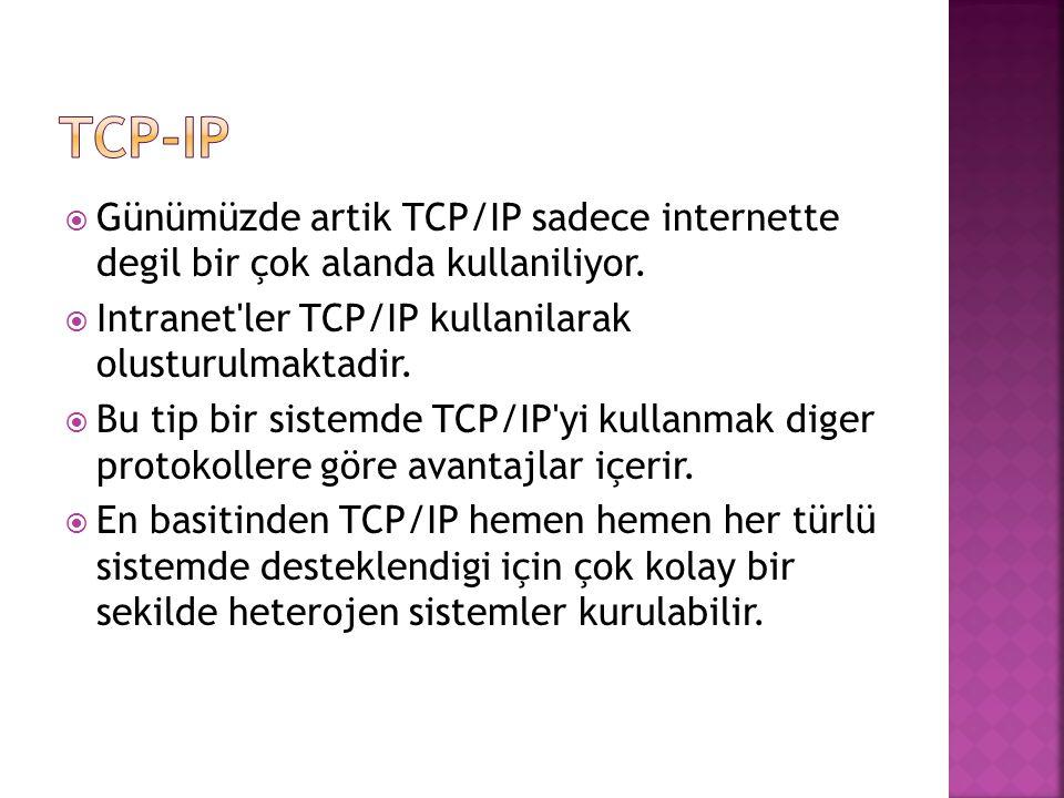  Günümüzde artik TCP/IP sadece internette degil bir çok alanda kullaniliyor.
