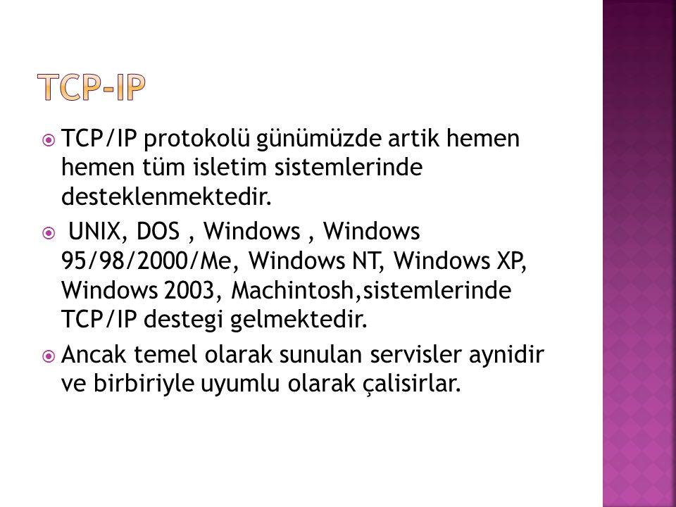  TCP/IP protokolü günümüzde artik hemen hemen tüm isletim sistemlerinde desteklenmektedir.