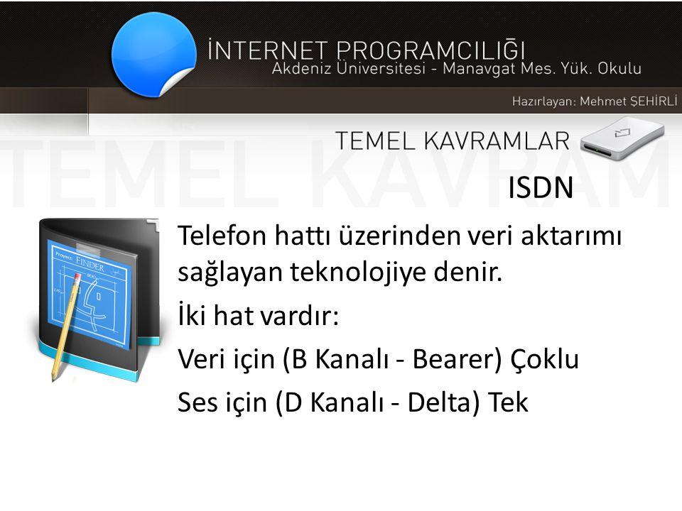 ISDN Telefon hattı üzerinden veri aktarımı sağlayan teknolojiye denir. İki hat vardır: Veri için (B Kanalı - Bearer) Çoklu Ses için (D Kanalı - Delta)