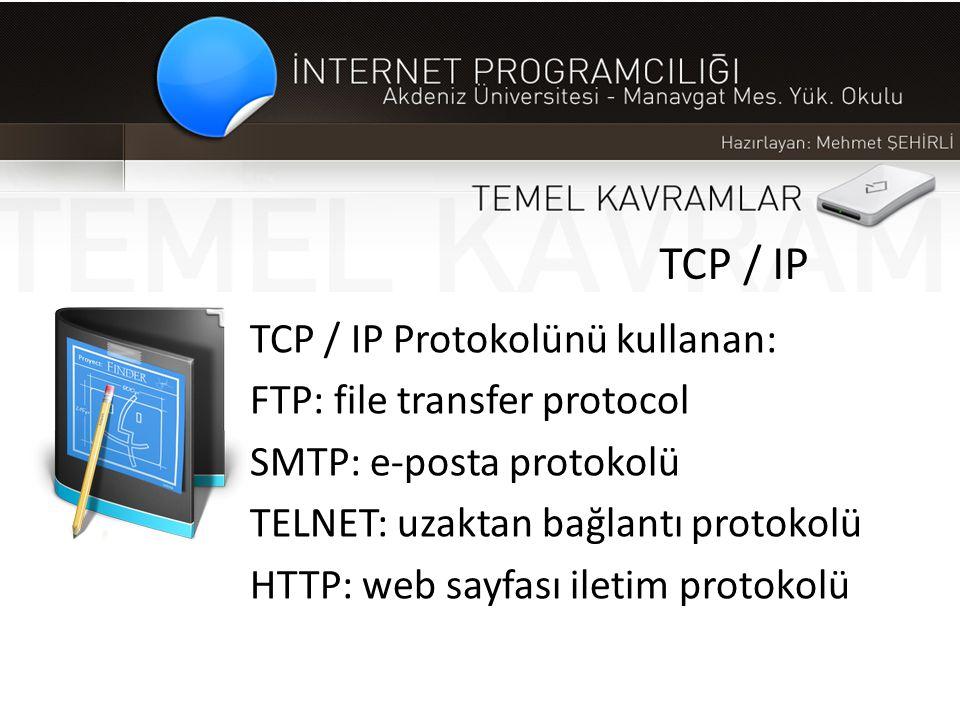 TCP / IP TCP / IP Protokolünü kullanan: FTP: file transfer protocol SMTP: e-posta protokolü TELNET: uzaktan bağlantı protokolü HTTP: web sayfası ileti