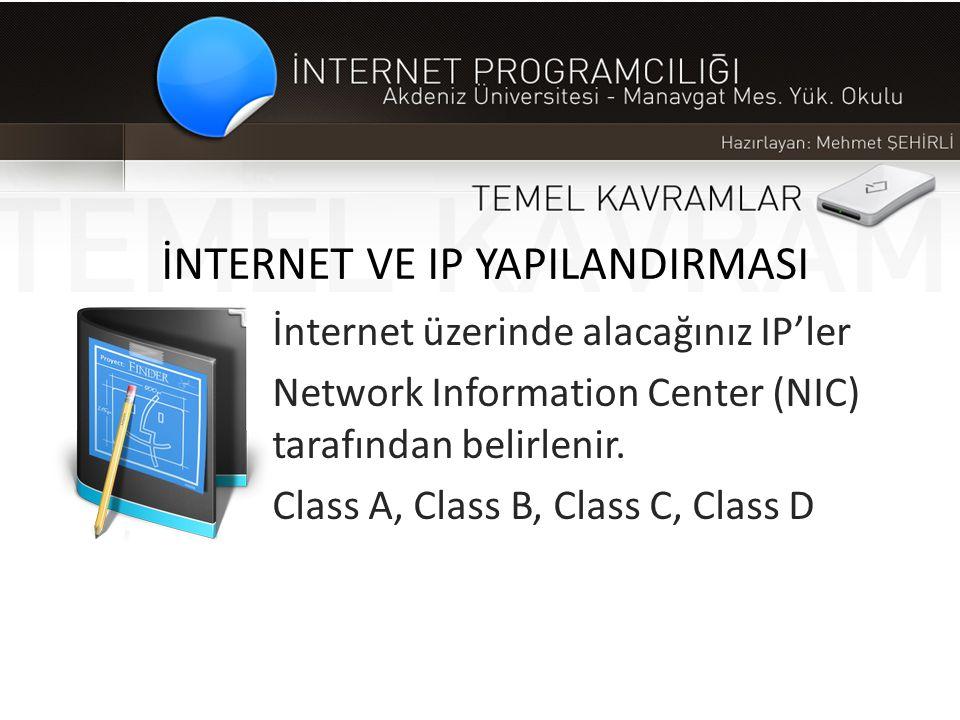 İNTERNET VE IP YAPILANDIRMASI İnternet üzerinde alacağınız IP'ler Network Information Center (NIC) tarafından belirlenir. Class A, Class B, Class C, C
